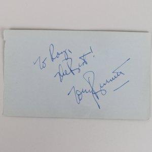 Tony Bennett & Rhonda Fleming Signed 3x5 Cut (JSA)