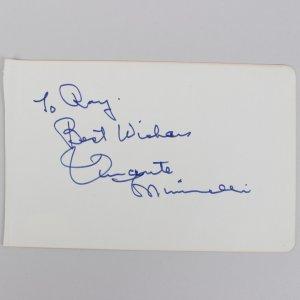 Vincente Minnelli Signed 4x6 Cut (JSA)