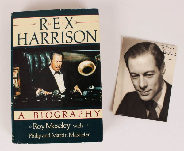 Rex Harrison Book & Signed 4x6 Photo