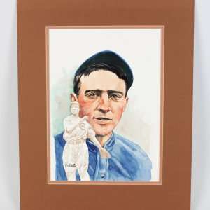 """1980""""s Perez Original Water Color 16x20 Artwork Cubs-Johnny Evers From the Barry Halper"""