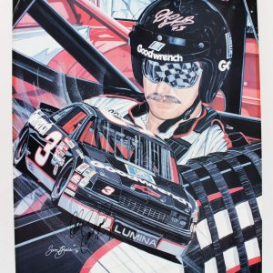 NASCAR Legend - Dale Earnhardt, Sr. Signed 24 x30 Lithograph (Limited Edition by Sam Bass) Coa JSA Auction Letter