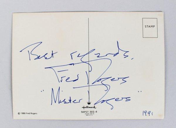 Mr Fred Rogers Signed Inscribed King Friday Puppet Postcard Photo Jsa Memorabilia Expert