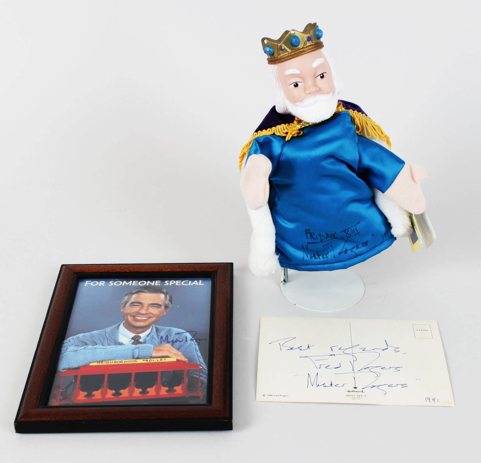 Mr Fred Rogers Signed Inscribed King Friday Puppet Postcard Photo Jsa Memorabilia Expert