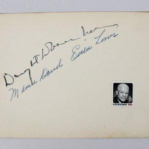 "Dwight Eisenhower& Mamie Eisenhower Signed 4 3/4"" x 6 1/4"" Album Page (JSA)"