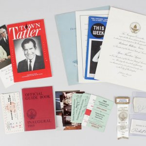 Signed Richard Nixon Cut & 1969 Inauguration Invitations Tickets, Pins + More