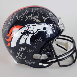 2015 Denver Broncos Team-Signed Replica Blue Helmet