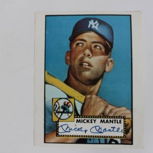 Yankees - Mickey Mantle Signed 8x10 Color 1952 Topps Photo (JSA)