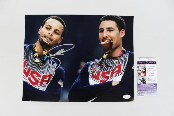 USA - Steph Curry & Klay Thompson Signed 11x14 Photo (JSA)
