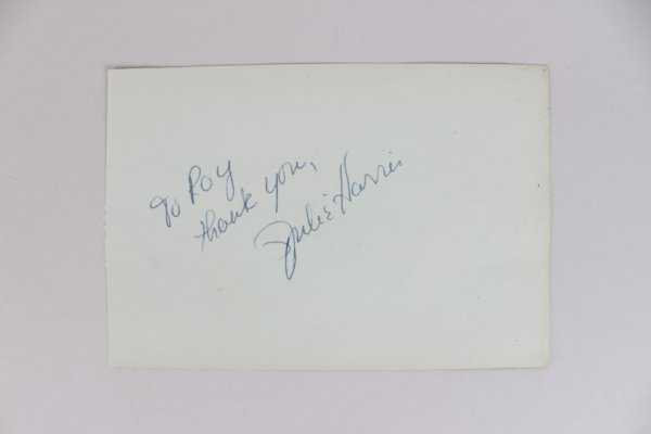 Actress - Julie Harris Signed & Inscribed 4x6 Cut (JSA)