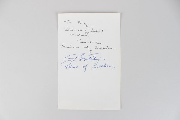 Prince Bertil & Lilian of Sweden Signed 5x8 Cut (JSA)