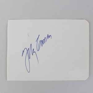 The Tonight Show - Johnny Carson Signed 3x5 Cut (JSA)