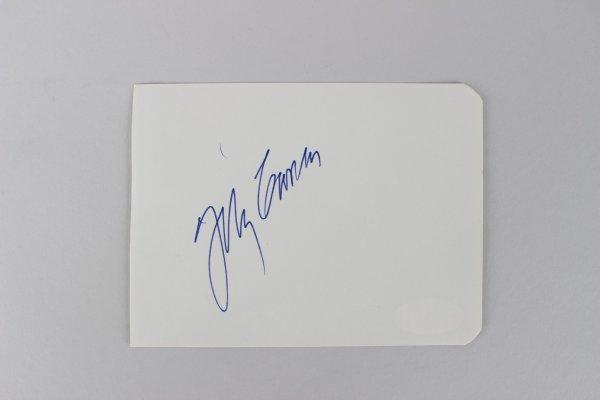 The Tonight Show - Johnny Carson Signed 3x5 Cut (JSA)