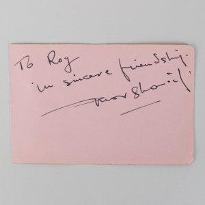 Doctor Zhivago - Omar Sharif Signed & Inscribed 3x5 Cut (JSA)