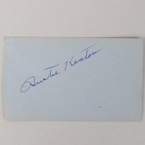 Actors - Buster Keaton & Phil Carey Signed 3x5 Cut (JSA)