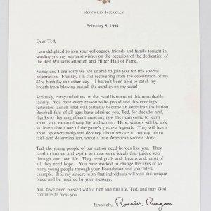 President Ronald Reagan Letter (TLS) to Boston Red Sox HOFer Ted Williams (JSA Full LOA)
