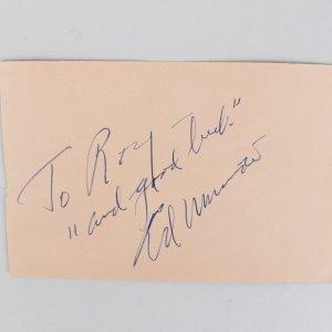 Ed Murrow & Louis Bellson Signed 4x6 Cut (JSA)