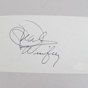 Queen of All Media - Oprah Winfrey Signed 4x6 Cut (JSA)