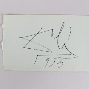 "Artist Salvador Dali Signed & Dated ""1955"" 4x6 Cut Album Page (JSA Full LOA)"