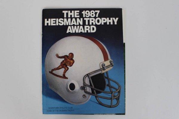 1987 Heisman Trophy Award Signed Program Incl. John Lujack, Leon Hart, George Webster, Hopolong Cassidy etc. Also incl. Mary Lou Retton Signed Sheet