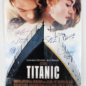Titanic Film Poster Signed by Celine Dion, James Cameron, Leonardo DiCaprio & Kate Winslet (JSA Full LOA)