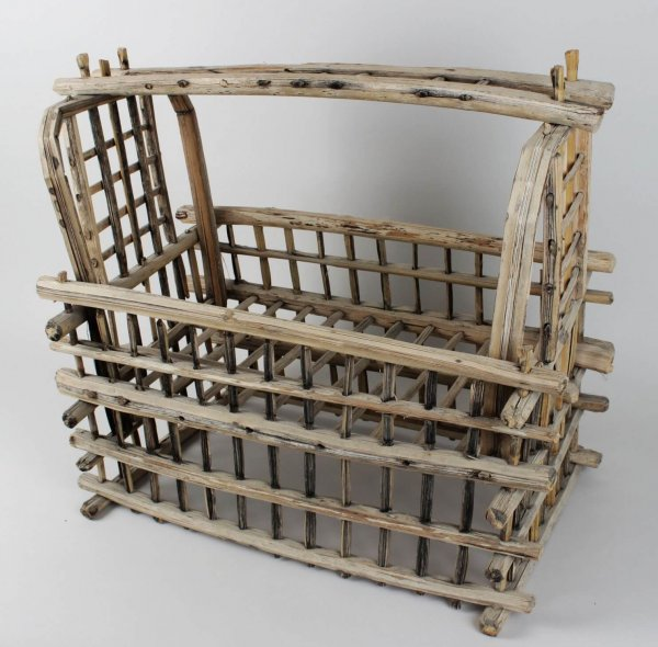 1800's Primitive Wooden Baby Cradle (Attributed to Northeastern Indian Iroquois Nation)