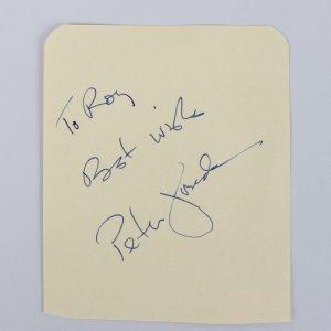 Easy Rider - Peter Fonda Signed & Inscribed 3x4 Vintage Cut (JSA COA)
