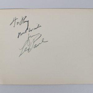 Les Paul & Yvonne De Carlo Signed 4x6 Vintage Album Cut (JSA COA)