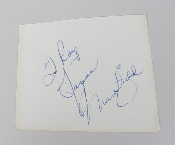 The Girl Can't Help It - Jayne Mansfield Signed 5x6 Vintage Cut (JSA Full LOA)