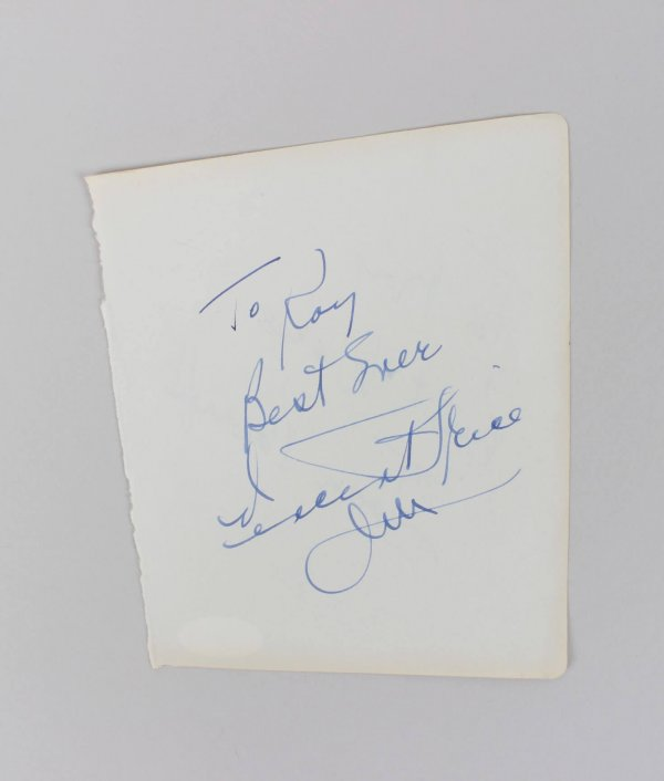 Vincent Price & Joan Plowright Signed, Inscribed 5x6 Vintage Cut (JSA COA)