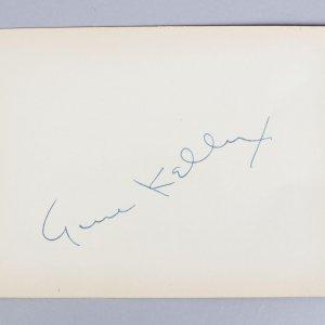 Actors- Gene Kelly & Dana Andrews Signed 4x6 Vintage Cut (JSA COA)
