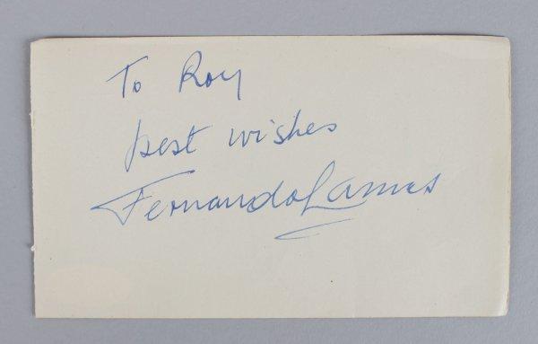Dangerous When Wet - Fernando Lamas Signed & Inscribed 3x5 Cut (JSA COA)