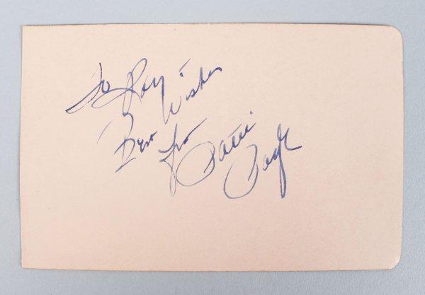 Tennessee Waltz - Patti Page Signed & Inscribed 3x5 Vintage Cut (JSA COA)