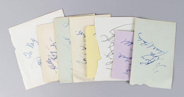 Musician & Singer Signed Lot (8) Vintage Album Page Cut (JSA)
