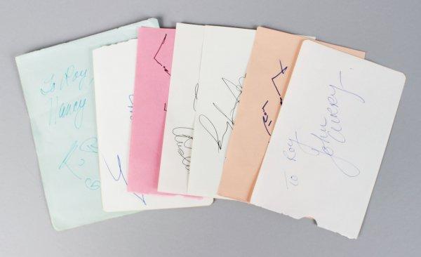 Tennis, Soccer & Figure Skater Signed Lot (7) Vintage Album Page Cuts (JSA)