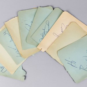 1950-60's TV Star's Signed Lot (10) Vintage 4x5 Album Page Cuts (JSA)