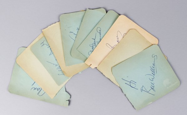 1950-60's TV Star's Signed Lot (10) Vintage 4x5 Album Page Cuts (JSA)