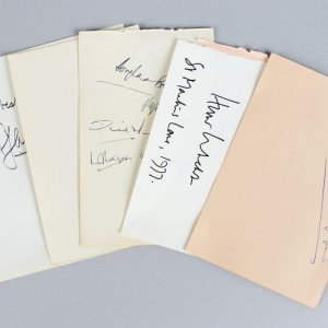 Political & Military Signed Lot (5) Vintage Album Page Cuts (JSA)