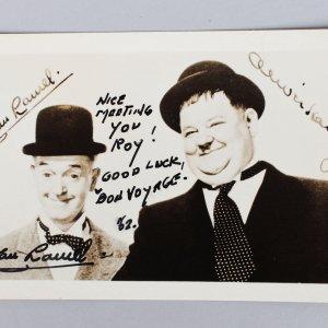 English Comic Actor - Stan Laurel Signed & Inscribed 3x5 Sepia Photo (JSA Full LOA)