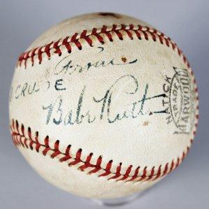 NY Yankees Babe Ruth Single-Signed Harwood Baseball (PSA Full LOA)