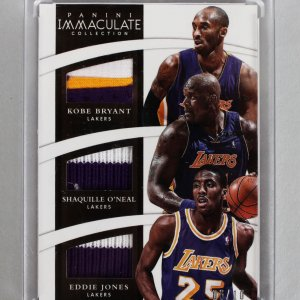 2014-15 Panini Immaculate Lakers Trio Kobe Bryant, Shaquille O'Neal & Jones Game-Used Jersey Patch 6/10 Card
