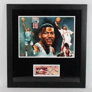 UNLV - Charlotte Hornets - Larry Johnson Signed 27x29 Photo Display (COA)