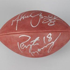 Indianapolis Colts - Peyton Manning & Marshall Faulk Signed Football (JSA COA)