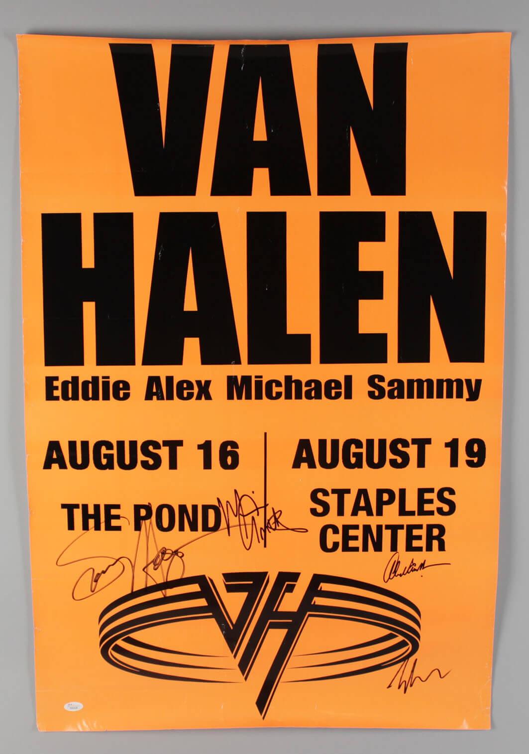 Van Halen Signed The Pond Concert Poster Eddie Van Halen Alex Van Halen Michael Anthony Sammy Hagar Jsa Full Loa Memorabilia Expert