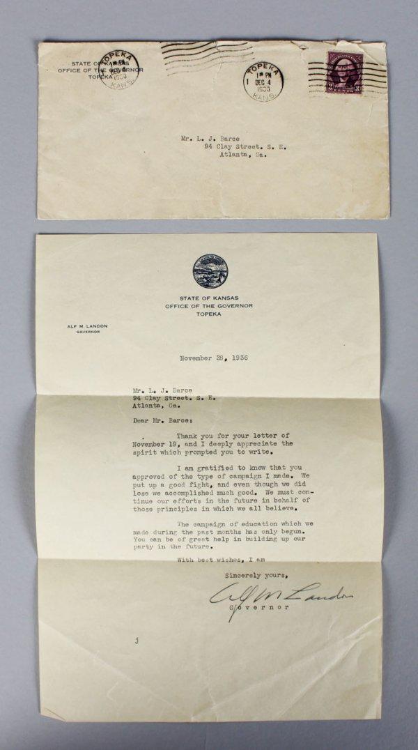 Alf Landon Governor- Signed Letter from Topeka, Nov 28, 1936