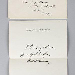 President Herbert Hoover Hand Written Greetings