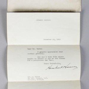 Herbert Hoover Signed Letter (TLS)
