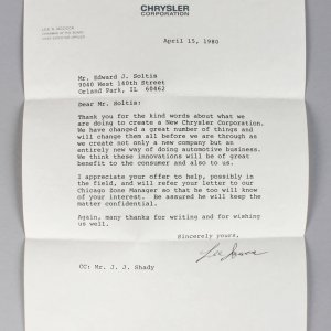 Signed Letter (TLS) From Lee Iacocca on Chrysler Stationary From Lee A Iacocca on Chrysler Stationary