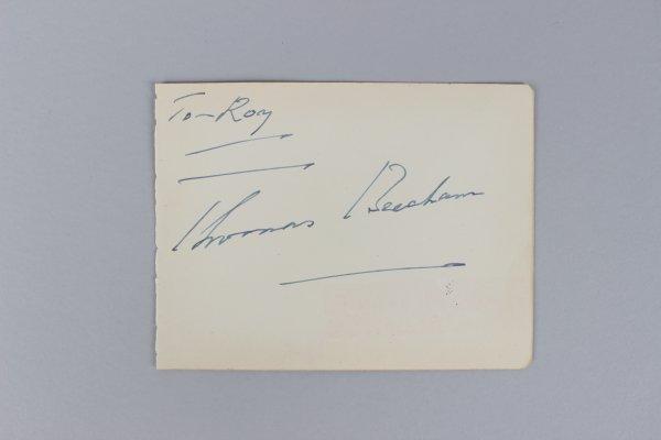English Conductor - Thomas Beecham Signed 4x6 Vintage Cut - COA JSA