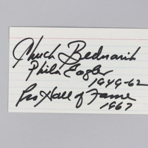 Philadelphia Eagles - Chuck Bednarik Signed & Inscribed 3x5 Index Card - COA JSA