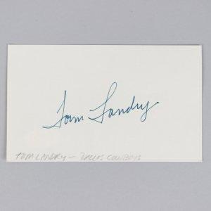 Dallas Cowboys - Tom Landry Signed 3x5 Index Card - COA JSA